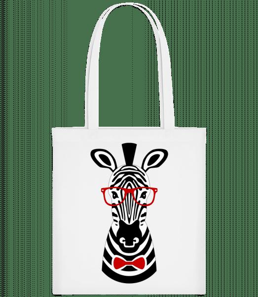 Hipster Zebra - Stoffbeutel - Weiß - Vorn
