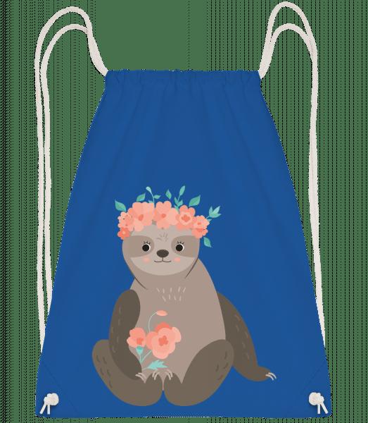 Sloth With Flowers - Gym bag - Royal blue - Vorn