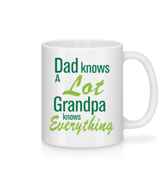 Dedko vie všetko - Keramický hrnček - Biela - Predné