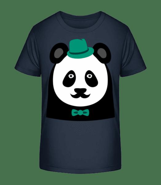 Hipster Panda - Kinder Premium Bio T-Shirt - Marine - Vorn