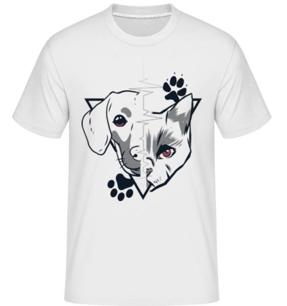Cat And Dog -  Shirtinator Men's T-Shirt - White - Front