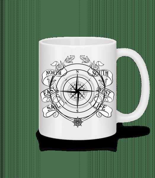 Sailing Compass - Keramický hrnček - Biela - Predné