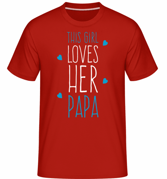 This Girl Loves Her Papa -  Shirtinator Men's T-Shirt - Red - Front