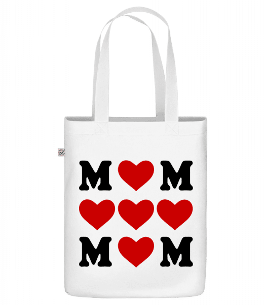 "Love Mom Hearts - Organic ""Earth Positive"" tote bag - White - Vorn"