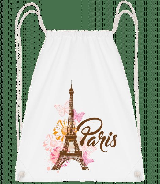 Paris France Brown - Drawstring Backpack - White - Vorn