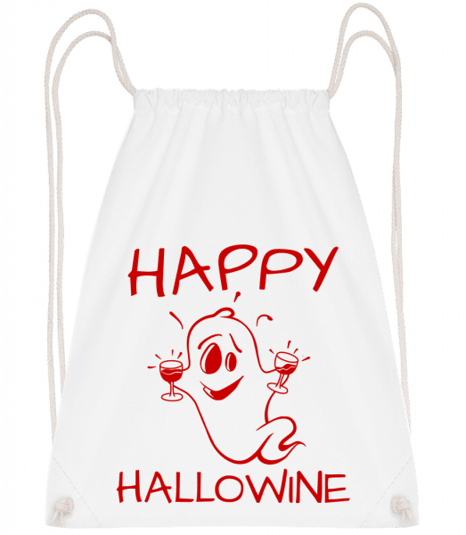 Happy Halloween Ghost - Drawstring Backpack - White - Vorn