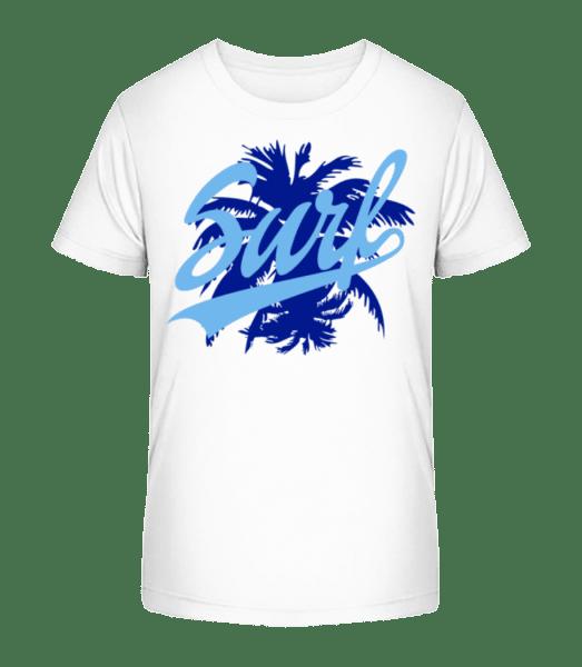 Surf Ikona Modrý - Detské Premium Bio tričko - Biela - Predné