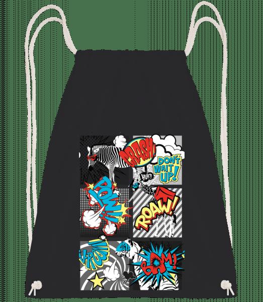 Cartoon Animals - Drawstring Backpack - Black - Vorn