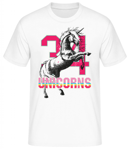 34 Unicorns - Men's Basic T-Shirt - White - Vorn