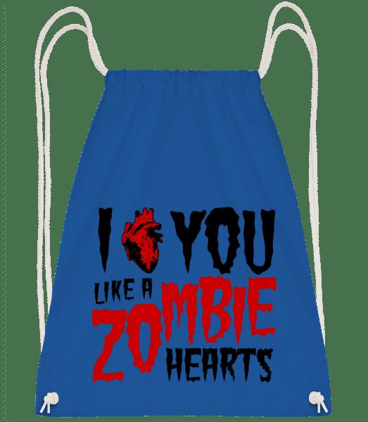 I Like You Like A Zombie Hearts - Turnbeutel - Royalblau - Vorn