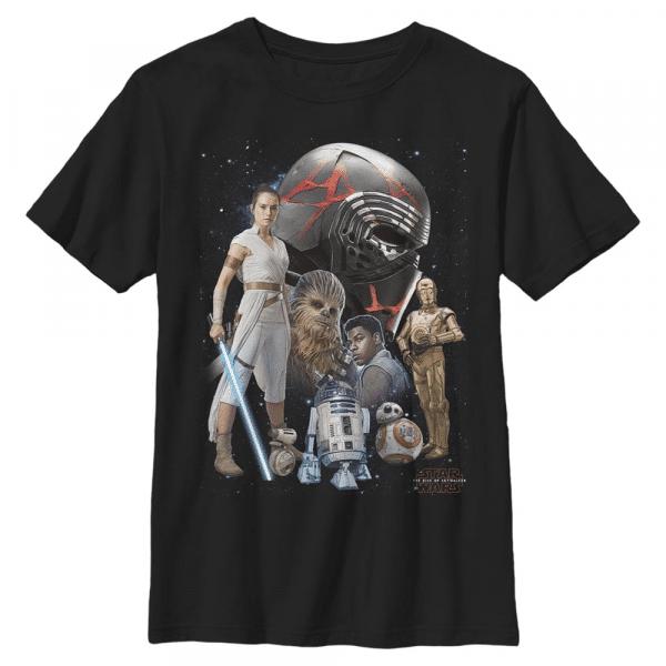Galaxies Heroes Group Shot - Star Wars the Rise of Skywalker - Kids T-Shirt - Black - Front