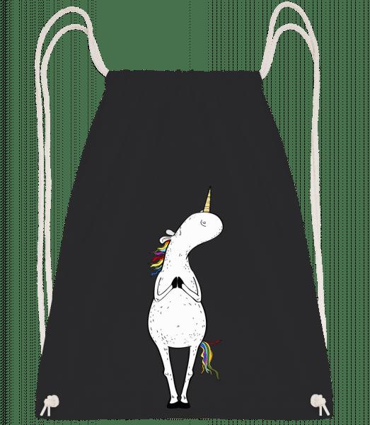 Yoga Einhorn Berghaltung - Turnbeutel - Schwarz - Vorn