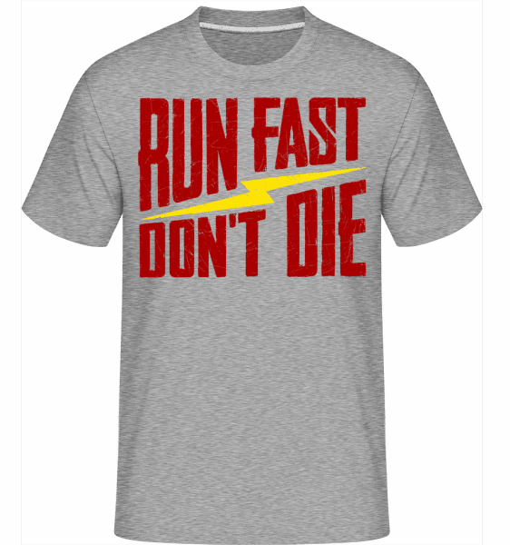 Run Fast Don't Die -  Shirtinator Men's T-Shirt - Heather grey - Front