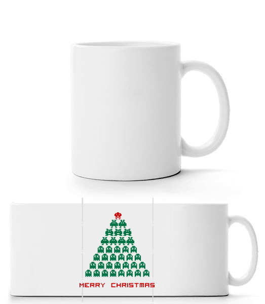 Merry Christmas Pixel Monster - Panorama Mug - White - Vorn