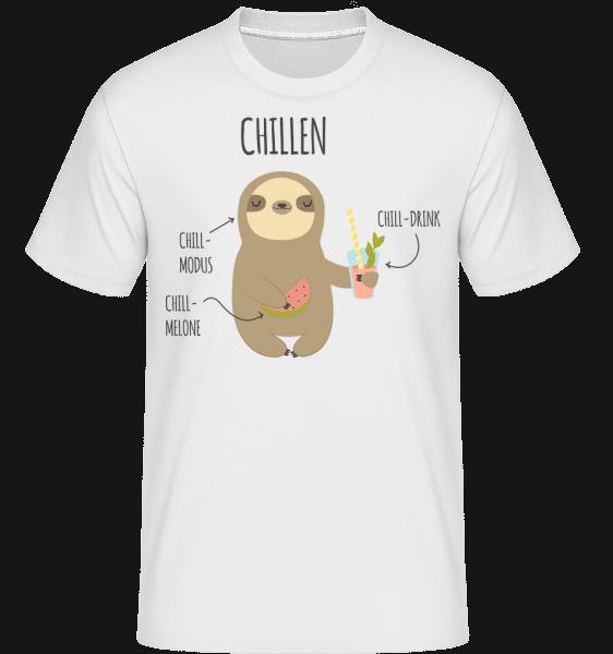 Chill Faultier - Shirtinator Männer T-Shirt - Weiß - Vorn