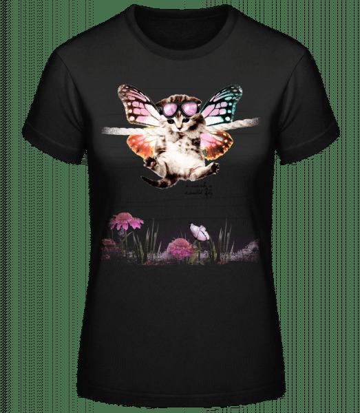 Butterfly Cat - Women's Basic T-Shirt - Black - Front
