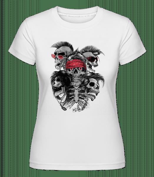 blázen Skulls -  Shirtinator tričko pro dámy - Bílá - Napřed