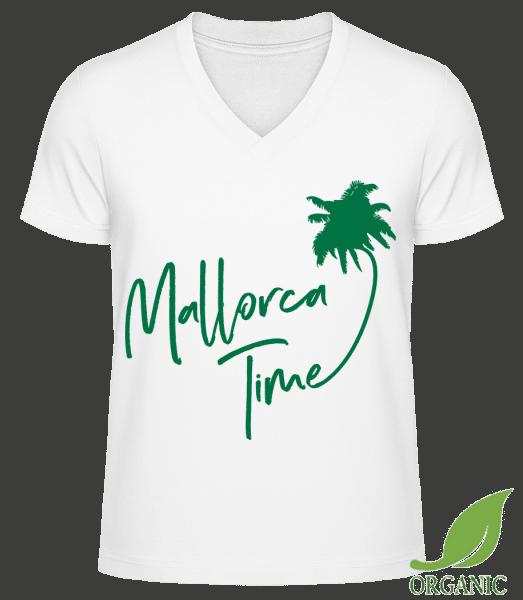 """Mallorca Time - """"James"""" Organic V-Neck T-Shirt - White - Vorn"""