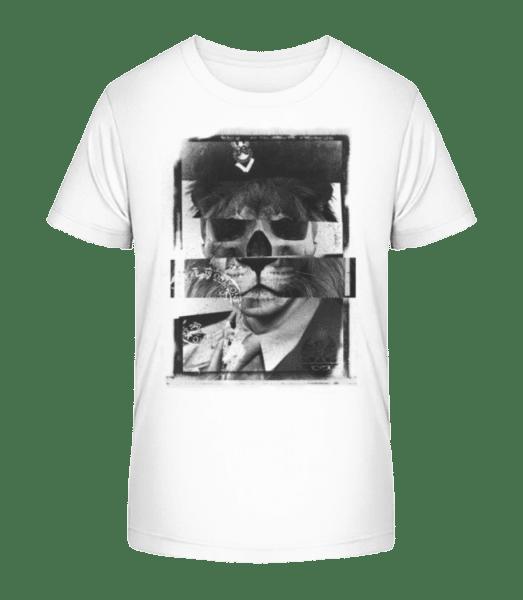 Lion Human Push Picture - Kid's Premium Bio T-Shirt - White - Vorn
