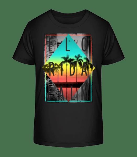 Florida Palm - Kid's Premium Bio T-Shirt - Black - Front