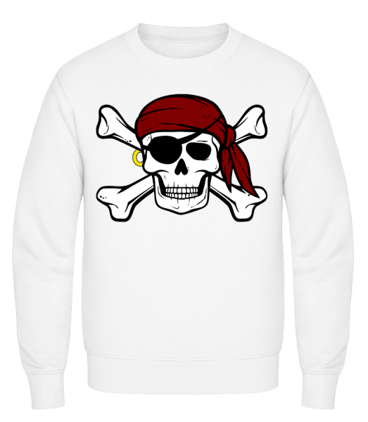 Pirate Skull - Classic Set-In Sweatshirt - White - Vorn