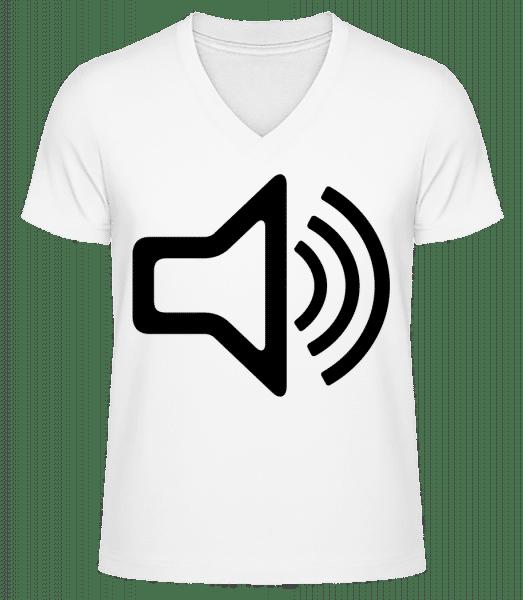 Speaker icon - Men's V-Neck Organic T-Shirt - White - Vorn