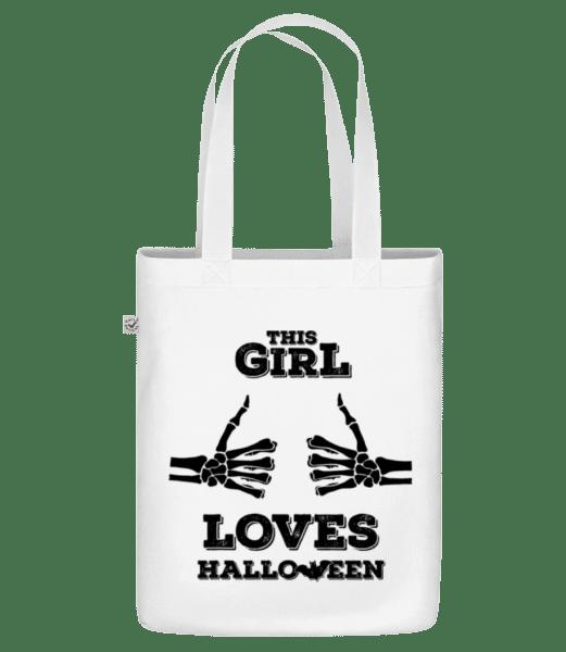 """Tato dívka miluje Halloween - Organická taška """"Earth Positive"""" - Bílá - Napřed"""