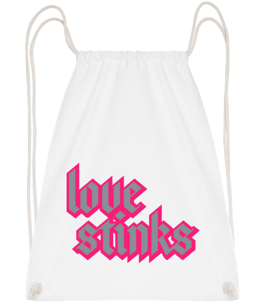 Love Stinks Lettering - Drawstring Backpack - White - Vorn