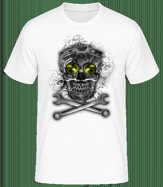 Maschinen Totenkopf - Basic T-Shirt - Bílá - Napřed