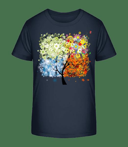 Vier Jahreszeiten Baum - Kinder Premium Bio T-Shirt - Marine - Vorn