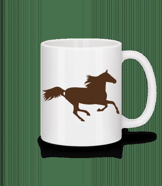 Kůň - Keramický hrnek - Bílá - Napřed