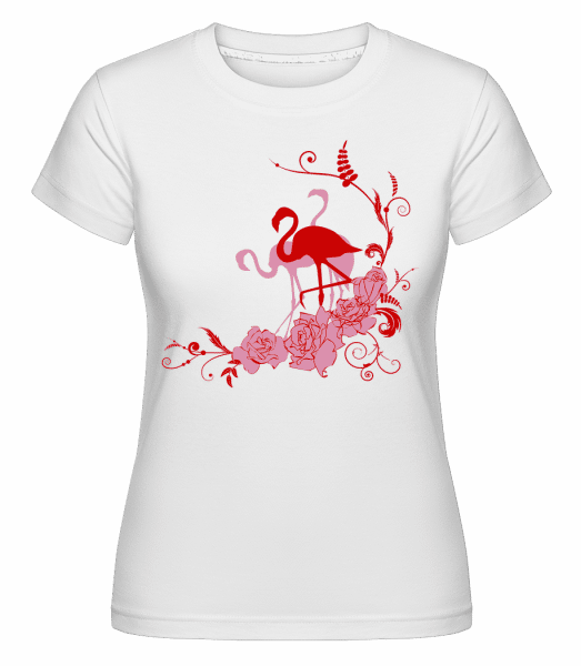 Flamingos Flowers - Shirtinator Frauen T-Shirt - Weiß - Vorn