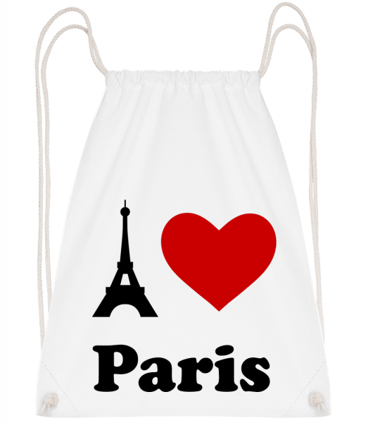 I Love Paris - Drawstring Backpack - White - Vorn