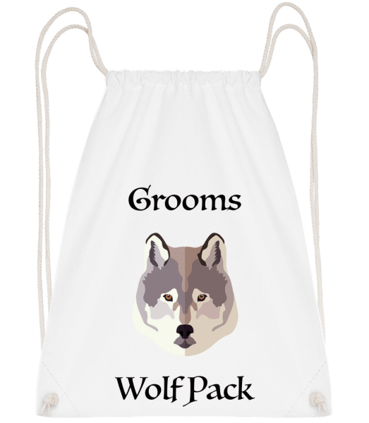 Grooms Wolf Pack - Drawstring Backpack - White - Vorn
