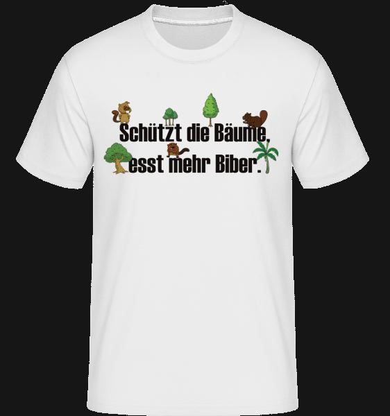 Esst Mehr Biber - Shirtinator Männer T-Shirt - Weiß - Vorn
