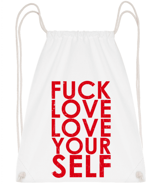 Fuck Love Love Yourself - Drawstring Backpack - White - Vorn