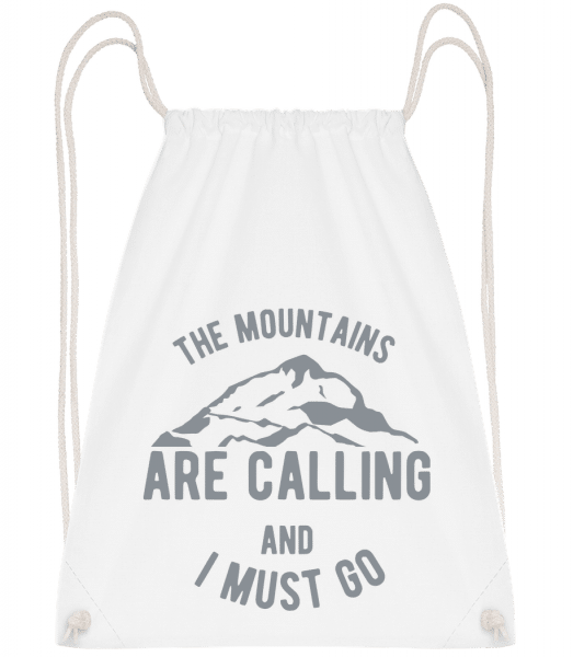 The Mountains Are Calling - Drawstring Backpack - White - Vorn