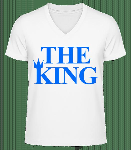 The King Blue - Men's V-Neck Organic T-Shirt - White - Vorn