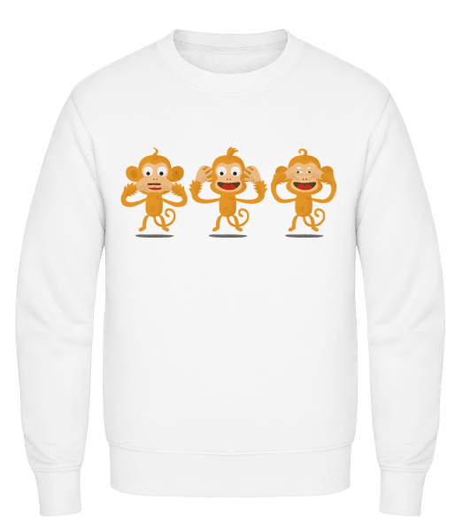 Blind Deaf Mute Monkey - Classic Set-In Sweatshirt - White - Vorn