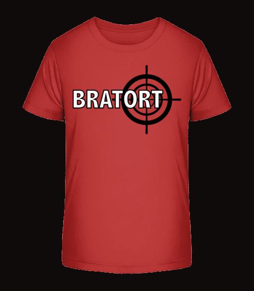 Bratort - Kinder Premium Bio T-Shirt - Kirschrot - Vorn
