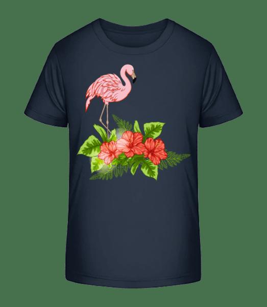 Flamingo In Paradise - T-shirt bio Premium Enfant - Bleu marine - Vorn
