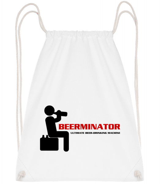 Beerminator - Drawstring Backpack - White - Vorn