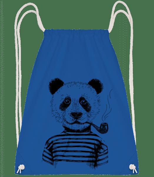 Hipster Panda - Drawstring Backpack - Royal Blue - Vorn