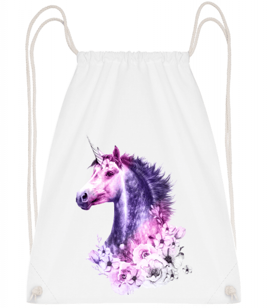 Flowers Unicorn - Drawstring Backpack - White - Vorn