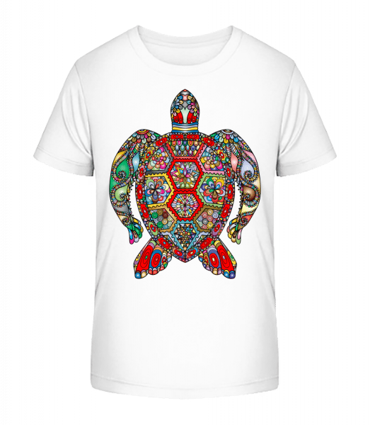 Geometric Turtle - Kid's Premium Bio T-Shirt - White - Front