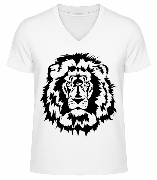 Lion - Men's V-Neck Organic T-Shirt - White - Vorn