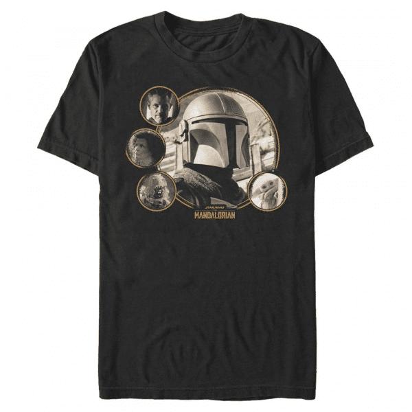 MandoMon Epi Mando Group Shot - Star Wars Mandalorian - Men's T-Shirt - Black - Front