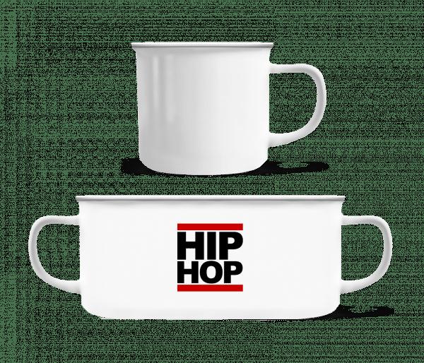 Hip Hop Logo - Emaille hrnek - Bílá - Napřed
