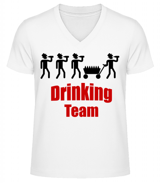 Drinking Team - Men's V-Neck Organic T-Shirt - White - Vorn