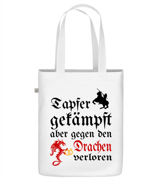 "Tapfer Gekämpft - Organic ""Earth Positive"" tote bag - White - Front"